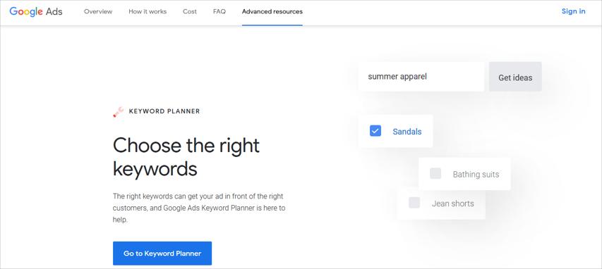 谷歌关键词分析工具