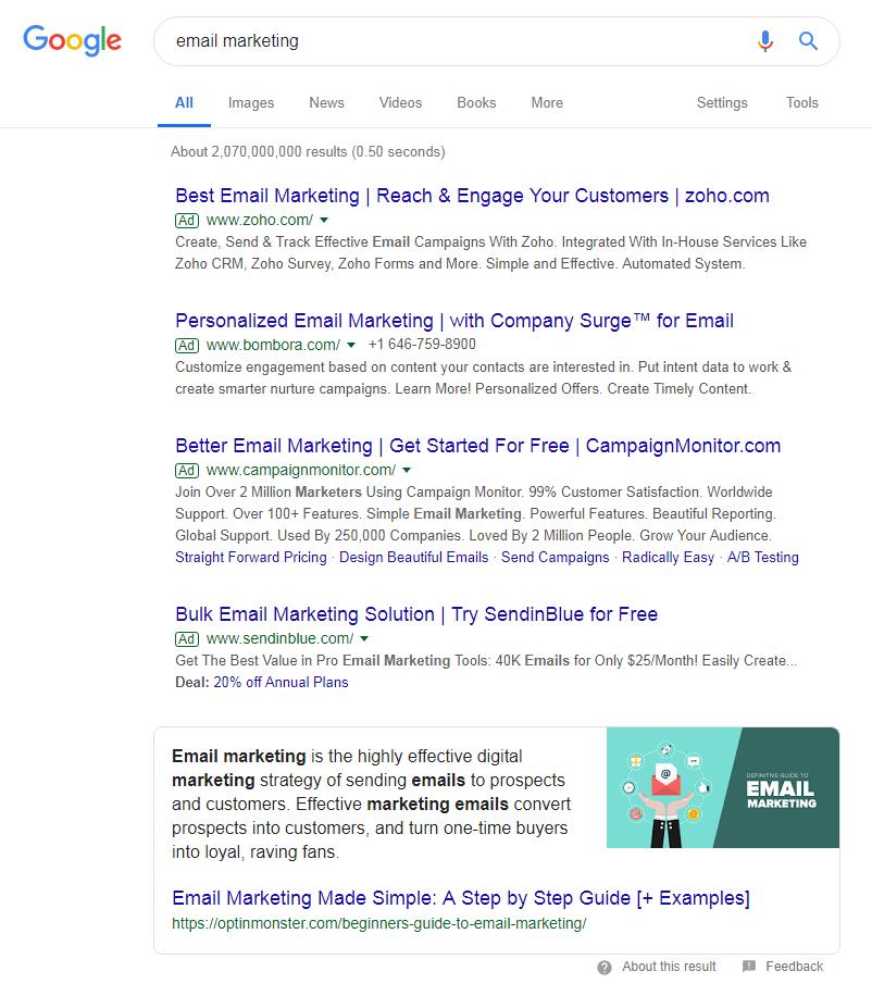 谷歌搜索邮件营销